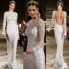 Style embellished illusion long sleeves sheath gown with low open back featuring silver tone payette and lace appliqués from Berta Bridal Spring 2016 Wedding Collection! Bridal Wedding Dresses, Bridal Style, Wedding Bells, Wedding Hair, The Princess Bride, Fairytale Gown, Couture Wedding Gowns, Couture Bridal, Dream Dress