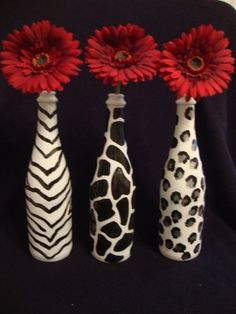 Animal print painted wine bottles