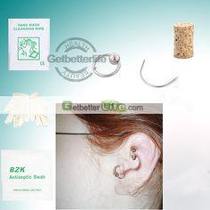 US$1.32 - SterilIized Silvery Ear Ring Rings Body Piercing Jewelry Needle Tool kit