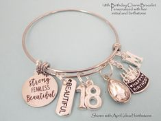 Trending Christmas Gifts For Teens 18th Birthday Gifts For Best Friend, 18th Birthday Gifts For Girls, Teenager Birthday Gifts, Teenage Girl Birthday, Teenage Girl Gifts, Personalized Birthday Gifts, Personalized Charms, 18 Year Old Gifts, Gifts For Her