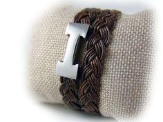 Damen Armband Leder geflochten antik braun von elfenstuebchen