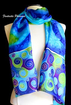 Silk scarf hand painted swirls in cool shades of blue green