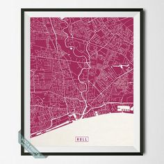 HULL, ENGLAND STREET MAP PRINT by Voca Prints! Modern street map art poster with 42 color choices. Perfect for anyone who loves to travel or is away from home.