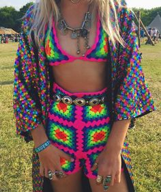 rainbow granny square crochet shorts top co ord two piece matching festival…