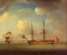 A Naval Snow - National Maritime Museum. The vessel is shown in two positions, port-broadside and port-quarter in the distance. She is called a snow rather than a brig, because her gaff-sail is laced to a little jigger-mast which is stepped aft of the mainmast. With her jack and commissioning pendant she is clearly naval, presumably a transport or supply vessel bought or hired by the Navy, but not a fighting ship. The background appears to be Tilbury Fort, opposite Gravesend in the Thames.