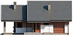 Projekt domu Maja 78,68 m2 - koszt budowy 144 tys. zł - EXTRADOM Duplex House Design, My House, House Plans, Garage Doors, Multi Story Building, New Homes, Cabin, How To Plan, Architecture