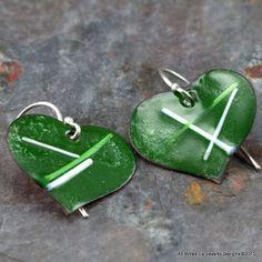 Green Heart Earrings  Enameled Copper Heart Earring  by PPennee, $26.00