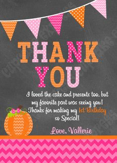 Pumpkin Girl Birthday Thank You Card Patch Party Girls First Halloween Pink Orange
