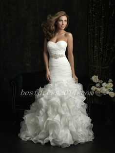 Wedding Dress Mermaid -ruffled organza floor & sweetheart neckline