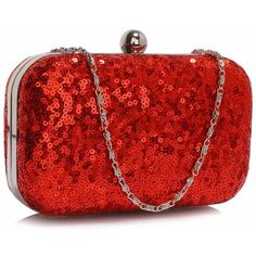 Red Sequin Clutch Bag (92) found on Polyvore featuring bags, handbags, clutches, red evening bag, chain strap purse, red purse, red evening bags clutches and red handbags