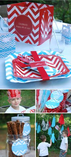 Fourth of July Party Ideas: Red and Blue Chevron from @BigDot #HappyDot