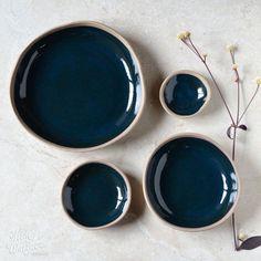 Pebble bowls by Kim Wallace Ceramics ~ deep indigo on natural