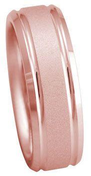 Rose Gold Band, Rose Gold Wedding Ring, 7mm 14kt.  Handmade Pink Rose Gold Groove Design Wedding Band by TemptingJewels on Etsy