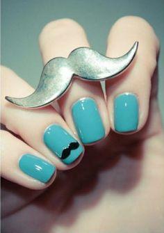 Movember Style | moustache fashion | moustache style | moustache ring | moustache nails