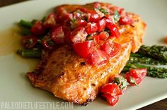 Salmon with Cherry Tomato Salsa and Roasted Asparagus (Great for All Phases) Salmon preparation Serves 4 Ingredients 4 wild salmon fillets, skin-on; 2 cloves garlic, minced; 1/2 tsp sea salt; 1/2 tsp freshly ground black pepper; 1/2 tsp paprika; 1 tsp lemon zest; 1 tsp fresh lemon juice; 1 tbsp