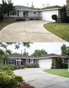 Great Photo of the Impact Landscaping can have on a homes curb appeal...  Before and After Photo of Home Staging