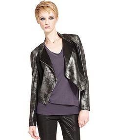 RACHEL Rachel Roy Jacket, Long-Sleeve Metallic Motorcycle - Jackets & Blazers - Women - Macy's