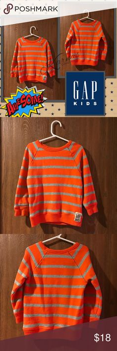 BABY GAP 4T Super Soft Striped Sweater My son wore this for school photos and outgrew this asap! Paid over $50 at Baby Gap. Size 4T. Orange with Grey Stripes. Please message with questions. I ship daily! ❤️😘😍 GAP Shirts & Tops Sweaters