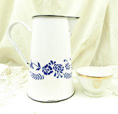 Medium Sized Antique French White & Blue Enamelware Pitcher / Retro Vintage Home Decor / Enamel Jug Vase / Cottage Kitchen Country Farmhouse by VintageDecorFrancais on Etsy