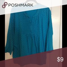 3/4 sleeve knit top Blue with white polka dots, 3/4 sleeve knit top Basic Editions Tops Blouses