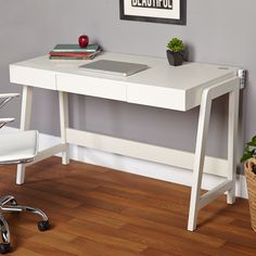 Update your home office with the Modernist Rectangular Tech Integrated Desk. With a handy USB port, grommet for wire management and a drawer for accessories this desk has everything you need.