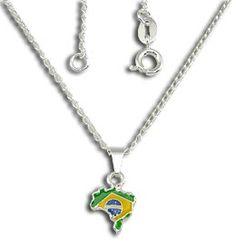 Gargantilha folheada a prata com pingente em forma do mapa do Brasil Código: G0475 P