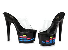 Ellie Shoes E709EQUALIZER 7 inch Mule With Neon Equalizer Pattern 12 BM US Black Multi *** Read more reviews of the product by visiting the link on the image.