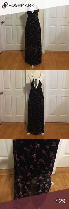 NWOT Like Mynded Print Cutout Slip Maxi Dress. NWOT Velvety Print Maxi Dress with see through trace underneath the bust lines and a side slit on the right side. Size XS. 100 Polyester. New, never worn. Like Mynded Dresses Maxi