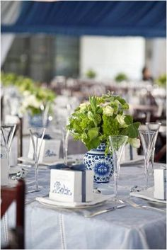 tablescape- blues, whites & greens