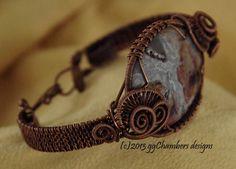 Copper Woven Wire Helix Bracelet w/Pietersite by ggChambersDesigns, $88.00