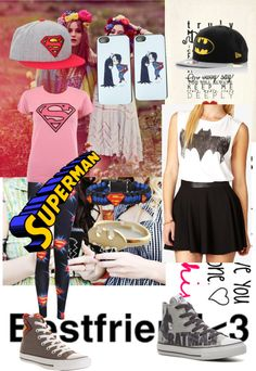 """A best friend outfit that luvs batman and superman!!"" by america-valeria-cortez ❤ liked on Polyvore"