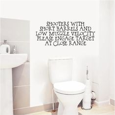 Shooters with Short Barrels  Bathroom  Vinyl by SweetumsSignatures, $9.00