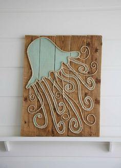 Coastal art on wood. Painted sea creatures. Sisal rope.