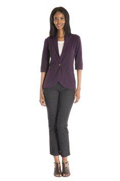 The Trifolium Cardigan Solid - women's spring summer fashion purple bamboo jersey cardigan Fukushima, French Terry, Spring Summer Fashion, Cotton Spandex, Bamboo, Blazer, Purple, Blazers, Viola
