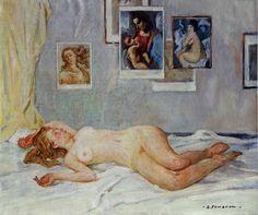 Stanislav Fomenok - Im Atelier, Liegender Akt #2