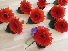 Gerbera buttonholes by Shelley Whiting of The Flower Cafe, Plymouth Devon