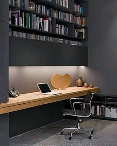 Home office decor is a very important thing that you have to make percfectly in your house. You need to make your home office decor ideas become a very awe Home Office Space, Office Workspace, Home Office Design, Home Office Decor, Office Furniture, House Design, Home Decor, Office Ideas, Small Office