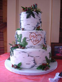 Nature themed wedding in Muskoka with a birch bark wedding cake
