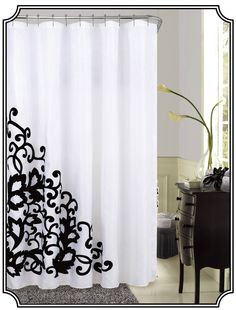 Dainty Home Romance Embroidered Fabric Shower Curtain