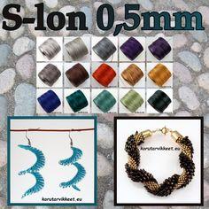 Täydensimme S-lon langat (0,5mm) ja saimme kauppaan myös ihan uudet värit. S-lon lanka on todella vahva nailonista valmistettu lanka. S-lon sopii loistavasti kumihimoon. Jos opettelet helmivirkkausta tai käytät isommat helmet, silloin S-lon on todella hyvä. S-lon on kiva mikromakramee töihin.   #mikromakramee #kumihimo #helmivirkkaus #korutarvikkeet Crochet Necklace, Helmet, Jewelry, Jewlery, Crochet Collar, Jewels, Motorcycle Helmet, Jewerly, Jewelery