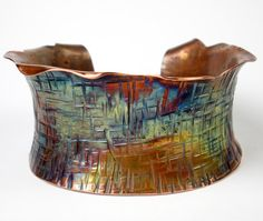Hammered Copper Cuff, Forged Copper Bracelet, Anticlastic Copper Bracelet, Colorful Heat Patina, Womens Plus-sized Cuff- Intersecting Lines via Etsy