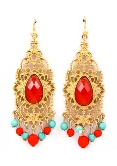 Glamourously Red Earrings $25.00