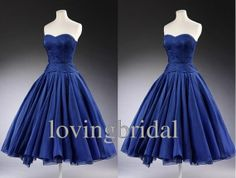 2014 Tea length  Vintage Satin Evening dress by lovingbridal, $158.00