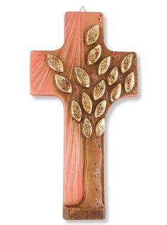 Holzkreuz Lebensbaum geschnitzt, bemalt rot gold 22 cm 001