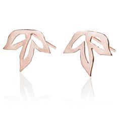 Anise stud Earrings, Red Gold Leaf Earrings, Flower 14k Rose Gold Earrings, Petal Earrings, Special post earrings,
