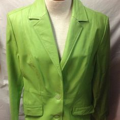 """Beautiful green leather blazer. W/pockets. Med. This is the most beautiful color of green. Would look stunning with black leggings and boots. 100% leather. Excellent condition. No flaws. Sleeves measure approx. 24"""" length measures approx. 29"""" . Armpit to armpit measures approx. 21"""". Terry Lewis Jackets & Coats Blazers"""