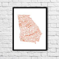 CUSTOM COLOR State of Georgia Typography Print by TheDraftingRoom