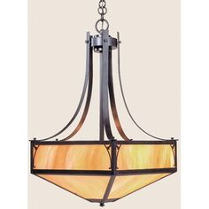 Arroyo Craftsman Saint George 4 Light Inverted Pendant Finish: Rustic Brown, Shade Color: Amber Mica