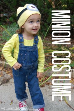 "Minion Costume with an Easy Minion Hat via www.wineandglue.com ""Cute idea for the little ones"" Their dressed in a costume and their comfy. Plus they can wear it everyday, so it's not just for Halloween."