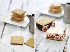Raspberry and Chocolate Ice Cream Sandwiches